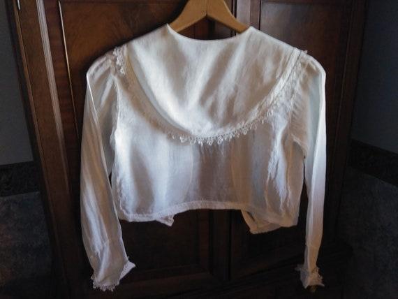 Antique Edwardian Lace Trimmed Women's Blouse - image 6