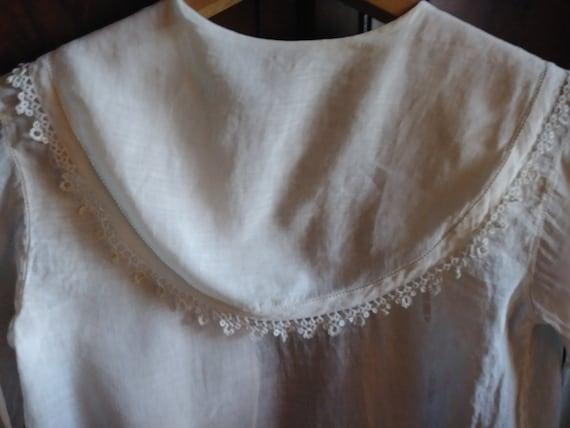 Antique Edwardian Lace Trimmed Women's Blouse - image 7