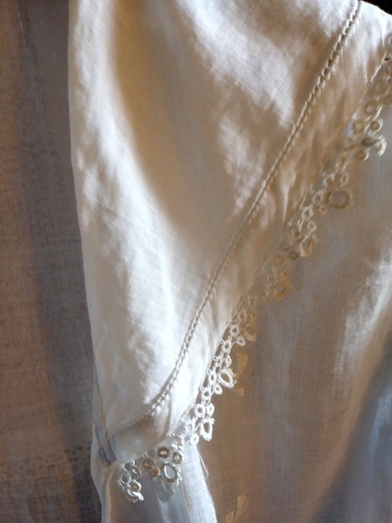 Antique Edwardian Lace Trimmed Women's Blouse - image 5