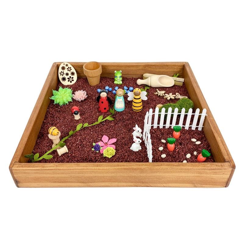 garden sensory bin kit/spring small world tray play/ladybug