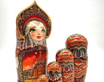 5 piece Nesting doll, Luxury, Babushka doll, Russian Doll, Traditional Russian matryoshka, nesting dolls, Premium