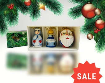 Set of Christmas tree decorations, Santa Claus, matryoshka, bell