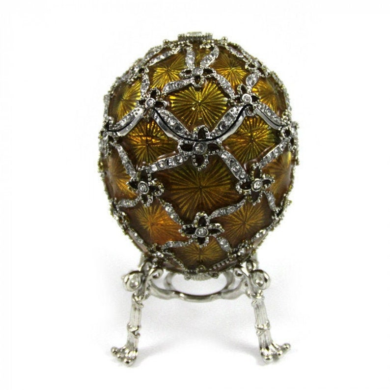 Home Decor Faberge Style Egg Box Faberge Egg Ribbon with Swan figurine 10cm Russian Egg