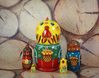 5 piece Nesting doll Cockerel, Russian Nesting doll , Babushka doll, Russian matryoshka, Unique Gift