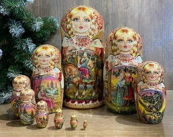 Matryoshka 10 pieces , Russian Doll , matryoshka, Babushka doll, Traditional Russian matryoshka, nesting dolls
