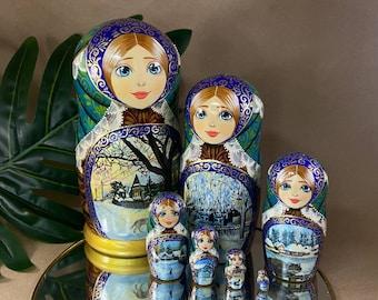 Matryoshka 7 pieces, Russian Doll, matryoshka, Babushka doll, Traditional Russian matryoshka, nesting dolls