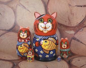 5 piece Nesting doll Cat, Russian Nesting doll , Babushka doll, Russian matryoshka, Unique Gift