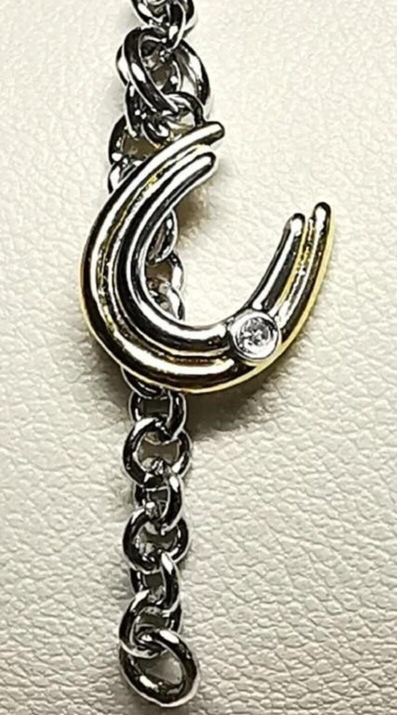 Vintage Charm Bracelet Sterling Silver Horse Shoe Pendant 5.5 Bracelet