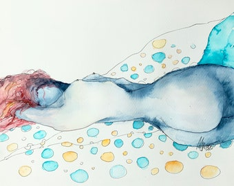 Woman Nude Watercolor Painting, Female Nude Painting, Woman Body Art, Female Figure Art, Women Art, Blue Watercolor, Nude Bedroom Wall Decor