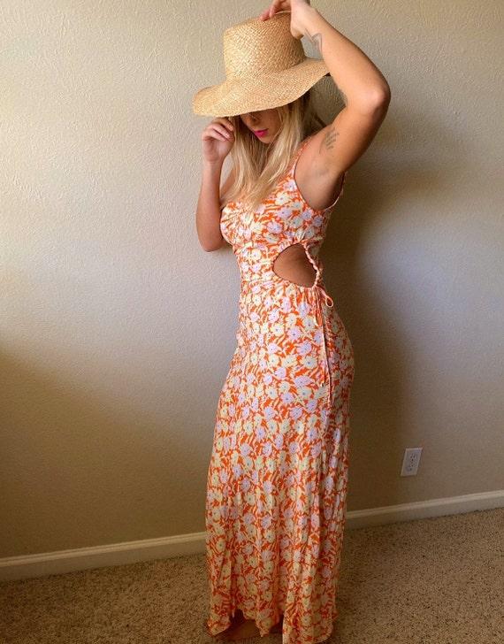 Ladies Maxi Floral Keyhole Spring Dress