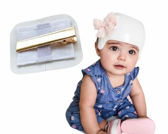 NEW ** Cranial helmet bow patch - Improved design! - Baby bow helmet attachment - Clip on bow sticker - bows sold separately!