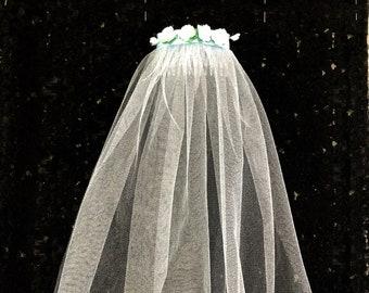 Halloween Black Polymer Bride Veil for Gothic fancy Hen Night Dress Costume UK