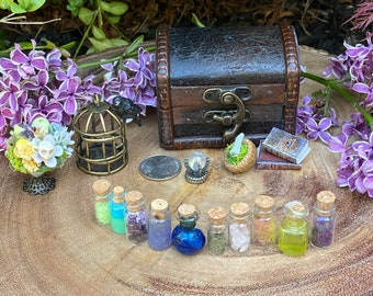 Miniature Mystic, Magic, Dollhouse, Fairy Garden, Witch or Wizard 14 Potions Trunk, Curio Chest, 1:12, skull centerpiece, birdcage with crow