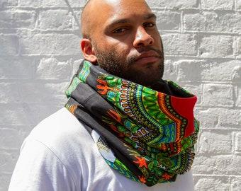 DASHIKI - Snood Scarf / Infinity hooded scarf / Oversized hood / Loop Scarf / African Print Snood /  Winter scarf