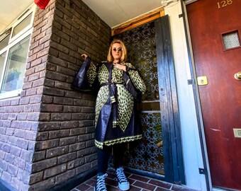UNISEX KIMONO - Plus oversized longline kimono in Ankara print, Graphic Print Open Front Kimono