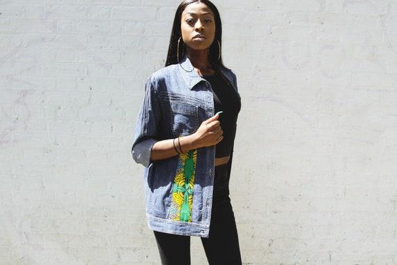 Vintage Denim Shirt / Ankara Denim/ Blue Denim Shirt / Upcycled Denim / Oversize Denim Button-Up Shirt / Relaxed Fit Size -HAWAIIAN DENIM-
