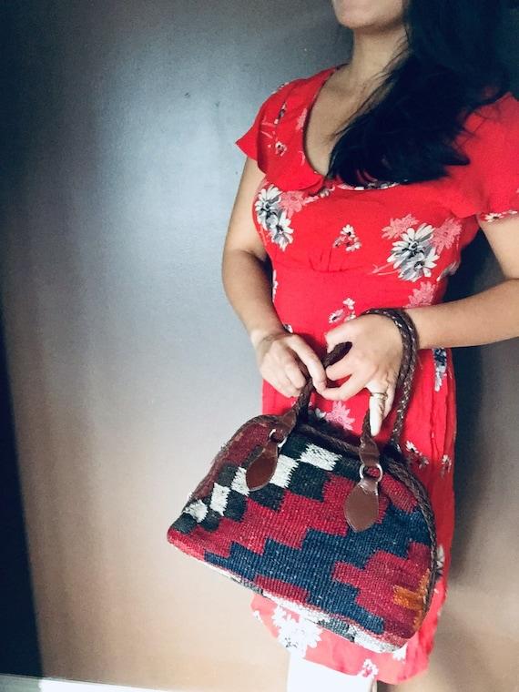 Retro red dress, Vintage dress, Boho summer dress