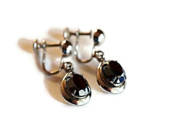 Vintage Rhinestone Mesh Chain Earrings Dangle Drop Screw Back Art Deco Jewelry Gift  Mid Century VivianJoel.com