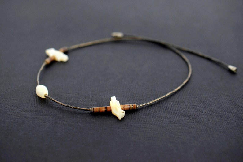 Mother of Pearl Carved Bird Necklace Shell Necklace White with Brown Bead Choker
