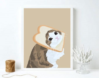 Breadface Cat   Sliced Bread   Pets Animal Portrait   Cute Adorable   Digital Illustration Drawing Download   Printable Art