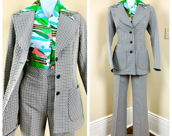 Vintage 1970s Magic Mushroom Suit Soft Cotton ChambrayHigh Waisted PantsDouble breasted jacket