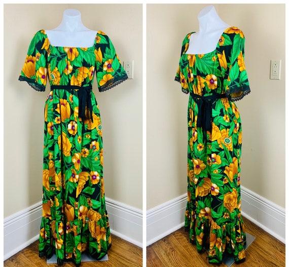 Vintage 70s Off the Shoulder Hawaiian Lace Maxi Dr