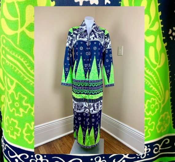 Vintage 70s Navy Lime Green Psychedelic Cole of Ca