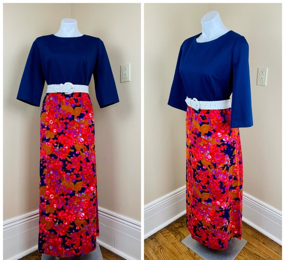 Vintage 70s Psychedelic Navy Pink Maxi Dress VOLUP