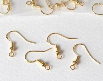 Rose Gold 14K Plated Plain Flat Fishhook Earwires Earring Hooks Findings 10 pcs