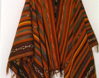 Guatemala Bolivia gray black red inspiration Peru PONCHO MAIA in France wool and blend and leather