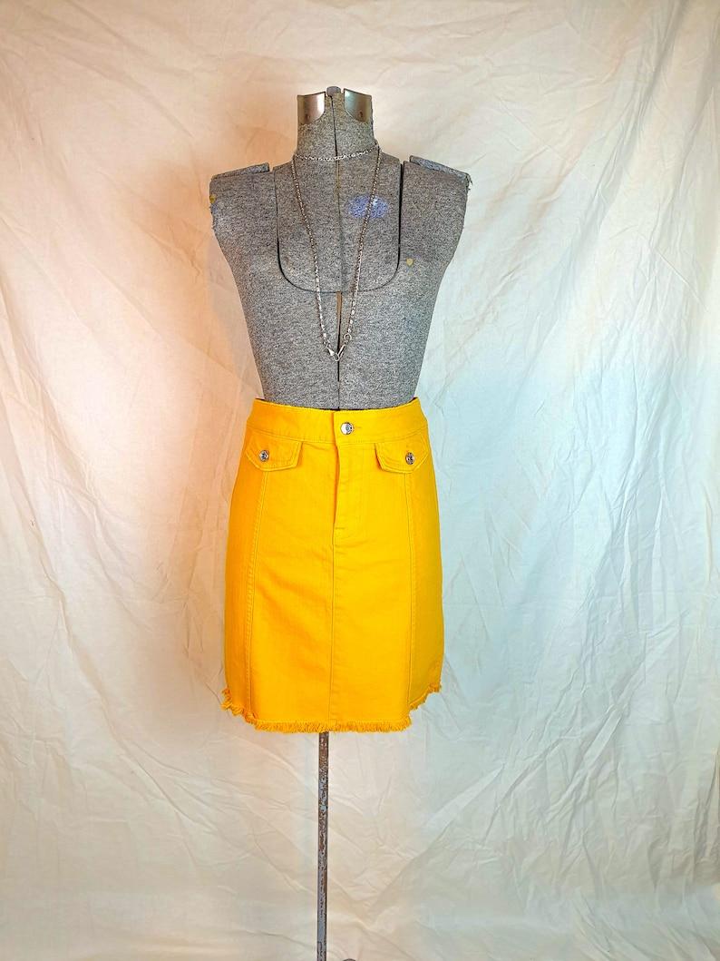 Denim Mini Skirt Yellow Streetwear Urban Funky