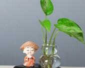 Orange Buddhist Monk Plant Pot, Creativity Planter, Creativity Gifts, Ceramic Planter, Home Planter, Succulent Planter No Plant