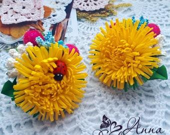 Bun Hair Stick Pin Dichroic Fused Glass Orange Yellow Bubbles Fashion Accessory