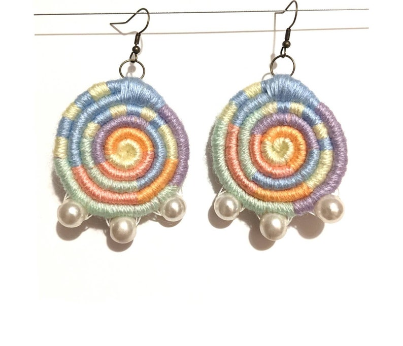 dangle and drop earrings Boho disc colourful earrings woven earrings Pastel colour earrings