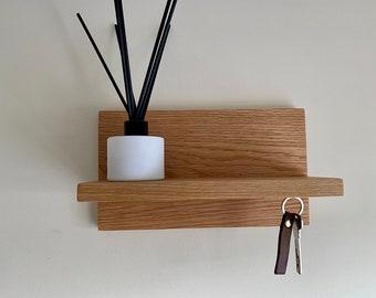 Oak key storage shelf