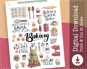 Baking Cooking Kitchen Printable Stickers | Digital Stickers | Planner Stickers | Goodnotes Notability | Cricut Designs | Clip Art