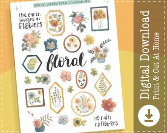 Floral Printable Stickers | Flower Digital Stickers | Goodnotes Stickers | Pressed Flowers | Cricut Designs | Clip Art | Planner Stickers