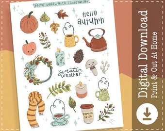 Autumn Printable Stickers | Fall Digital Stickers Goodnotes | Cricut Design Stickers | PNG Clipart | Planner |