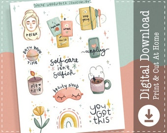 Self Care Stickers | Printable Stickers | Digital Stickers | Clipart | Goodnotes Notability Stickers | Cricut Designs |