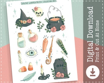 Witchy Printable Stickers | Witch Digital Stickers Goodnotes | Magic Cricut Design Stickers | Halloween PNG Clipart | Planner Stickers |