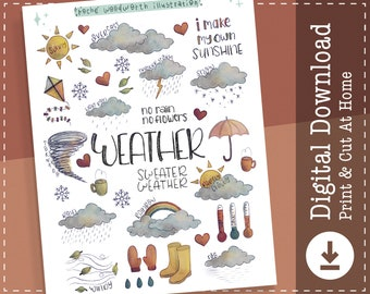 Weather Printable Stickers | Digital Stickers | Goodnotes Notability | Clipart | Nature | Sky | Outdoors