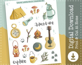 Camping Printable Stickers | Nature Digital Stickers Goodnotes | Outdoors Cricut Design Stickers | Adventure PNG Clipart | Planner |