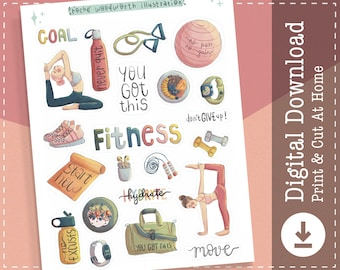 Fitness Stickers | Workout Printable Stickers | Exercise Digital Stickers | Planner Stickers | Gym Stickers | Cute Stickers | Clipart |