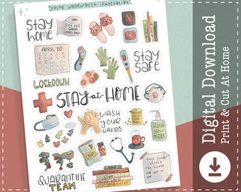 Stay At Home Printable Stickers | PNG Stickers | Clipart | Healthcare Medical | Quarantine Stickers | Goodnotes Digital Stickers