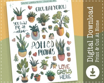 Potted Plants Stickers | Printable Stickers | Digital Stickers | Clipart | Goodnotes Notability Stickers | Cricut Designs |