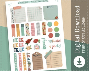 Weekly Kit Printable Stickers | Digital Stickers Goodnotes | Cricut Design Stickers | PNG Clipart | Planner Printable