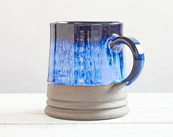 Tasha Large Beer Mug, Large Coffee Mug, Night Blue - Hazel Brown - Creme Ceramic Mug, Effect Glazed Stoneware