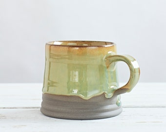 Tasha Medium Pottery Mug, Coffee and Tea Mug,   Night Blue - Hazel Brown - Basalt Blue Ceramic Mug, Christmasgift