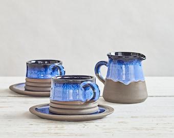 Coffee Set Night Blue Glaze, Coffee Set, Pottery Set and Mug with Saucer, Tea Cup, Coffee Cup with Saucer