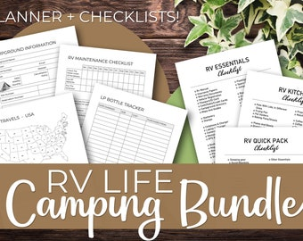RV Life Camping Bundle | Instant Download Printable |  RV Checklists and RV Life Planner | 34 + 6 Pages